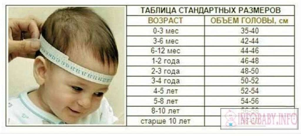 Размер головы ребенка по возрасту по месяцам: нормы ...