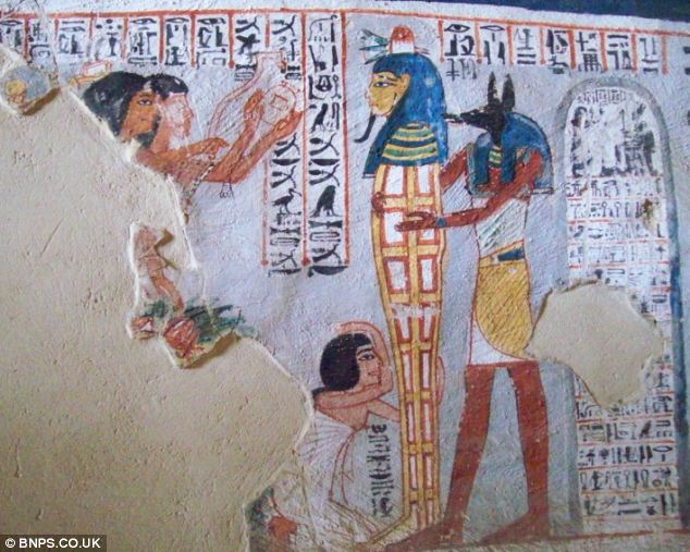 Like you just stepped out of a salon: This Egyptian wall painting shows a mummy being prepared for the afterlife complete with