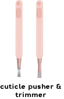 Illustrations of a cuticle pusher and a cuticle trimmer