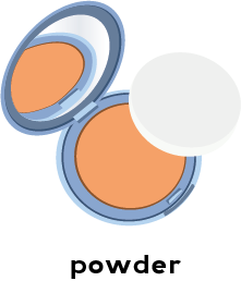 Illustration of a compact filled with powder and a cotton pad applicator
